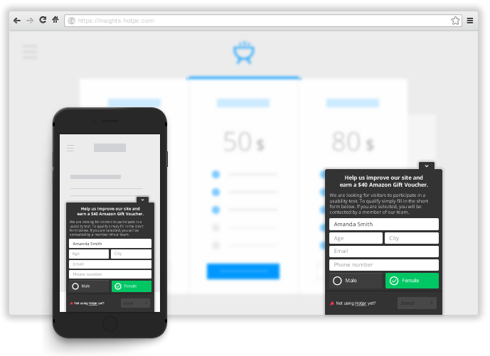 Recruit user testers with Hotjar